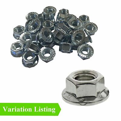 Flanged Serrated Hex Nuts to Fit Metric Bolts, Bright Zinc Plated / All Sizes