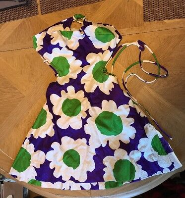 Vintage Women NWT 1970's MUSA Swim Suit Dress Sz 10 Green Purple Daisy Cotton