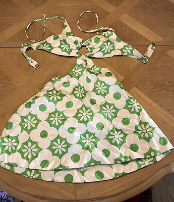 Vintage Women NOS NWT 1970's MUSA Swimsuit Dress Sz 12 Green White Floral Daisy
