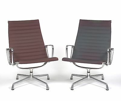 Pair of Eames Herman Miller Aluminum Group Lounge Chairs Mid Century Modern