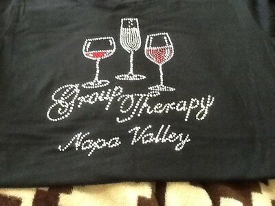 Tshirt Napa Valley Group Therapy Size Medium Black Wine Glasses