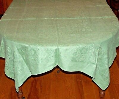 Vintage Green Mosaic Work Linen Tablecloth Drawn Thread, Perfect Christmas Item!