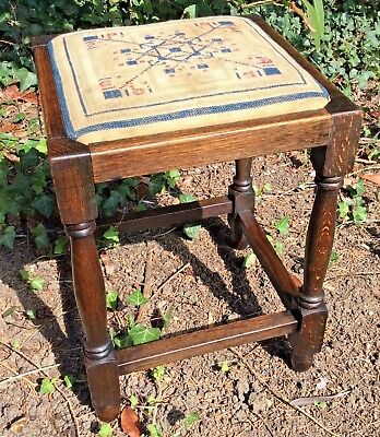 Solid Oak Victorian Stool Original Needlepoint Seat 17 x 12 Inches