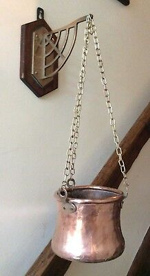 Solid Copper Hanging Plant Pot Holder on Brass Wall Bracket