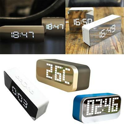 Digital LED Mirror Clock Alarm 12/24 Hour with Temperature Snooze Night Mode