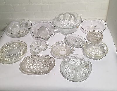 Mixed Job Lot of 12 Glass Bowls and Dishes - LLT