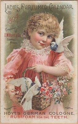 Victorian Trade Card-Hoyt's German Cologne-Lowell, MA-Cashtown, PA-doves-Flowers