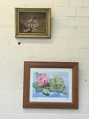 Two Framed Still Life Paintings - Spring Flower / Fruits - Mixed Media - Vr