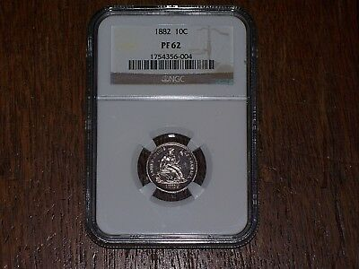 1882  Proof  Seated Liberty Dime Ngc Pf62