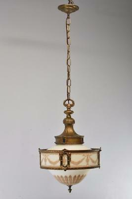 Antique 1920's Chandelier With White Opaque Glass Shade Hand Painted Gold Detail