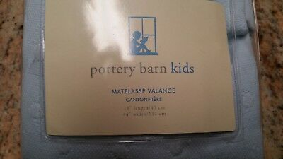 POTTERY BARN KIDS Pale Blue Cotton Matelasse Dot Valance Scalloped Hem 44 X 18""
