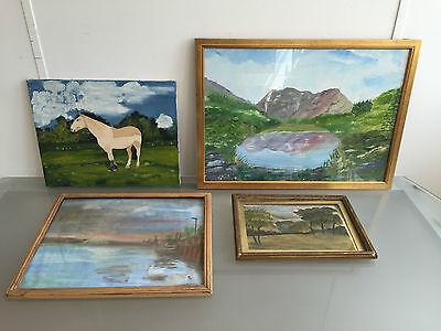 Lot Of 4 Naive Style Paintings - Woodland + Scenery For Nursery / Children - Vr