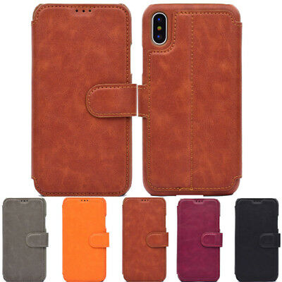 Magnetic Leather Wallet Case Card Slot Shockproof Flip Cover For iPhone Samsung