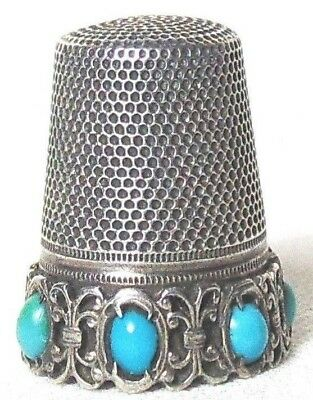 Vintage 800 silver and turquoise German thimble
