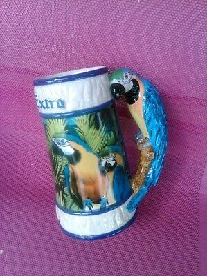Corona Extra Beer Stein with Two Species of Macaws Featured on It
