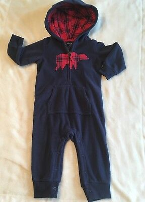 Carter's 1 Piece Romper Fleece Navy 12 months Boy's, GUC