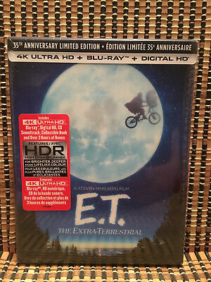 E.T. The Extra-Terrestrial 4K Ltd Ed. (3-Disc Blu-ray/CD, 2017)+Slipcover/Book
