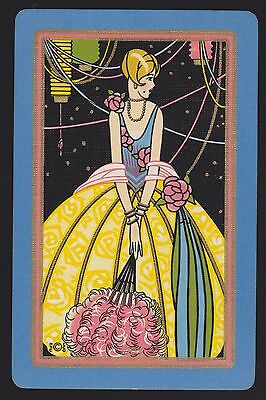 1 Single VINTAGE Swap/Playing Card USNN DECO LADY 'COY CO-4-1-A' Gold Stars Sky