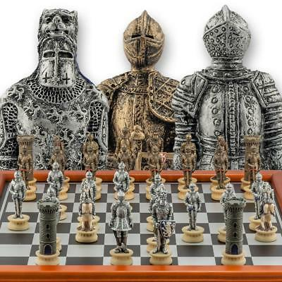 "Chessmen Hand Painted Medieval Warrior Chess Set with 3"" King - 40cm Chessboard"