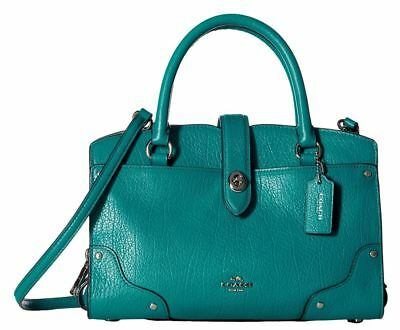 COACH MERCER 24 Leather Handbag Bag Dark Teal Blue Green Acqua 3779 ... 14112124f8a0f