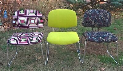 Vintage Hon Re-Upholstered Chrome Chairs