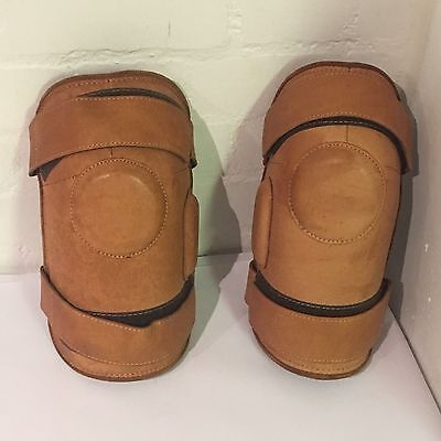 Pair of Light Brown Tan Leather Two Strap Polo Knee Guards - LLT