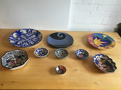 Job Lot Collection Assorted Sizes and Patterns of Nine Blue Bowls - LLT