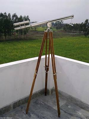 Telescopic Wooden European Style Brass Nickel Finish with Wooden Tripod Stand