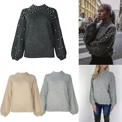 7c1f7d5a54d Womens Pearl Embellished Jumper Beaded Knitted Dark Grey Sweater Blogger  Style