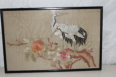 Japanese Early 20C Silk Picture Of Two Birds