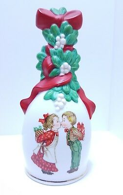 "1989 Collectable Avon Porcelain Christmas Bell ""Under the Mistletoe"" Gold trim"
