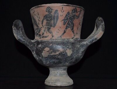 Ancient Greek Painted Ceramic Krater / Calyx, c 350-250 Bc. Complete. Hellenic