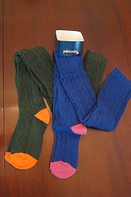 NWT 2 PAIR of Mini Boden Johnnie B Cabled Tights Blue AND Green 8 or 11/12