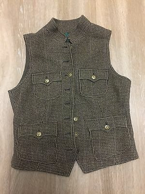 Ralph Lauren Petite Women's  Sleeveless Button Down Plaid Vest Size: 4P 75% Wool