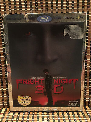 Fright Night 3D (3-Disc Blu-ray/DVD, 2011)+3D Slipcover/Rare/OOP.Horror Remake.
