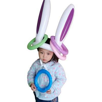 Infatable Rabbit Easter Bunny Ears Rings Party Ball Pool Toss Game Play Fun N7