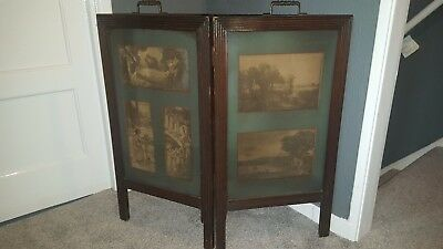 edwardian oak  fire screen