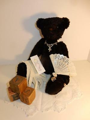 "Vintage Black Artist By Dorothy Handmade Mohair Teddy Bear 15""  Antique Necklace"
