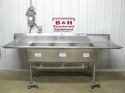 "8' 4"" Universal Stainless Steel Three Bowl 3 Compartment Heavy Duty Sink 100"""