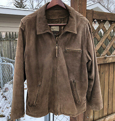 *NICE* Mens Cabelas Brown Nubuck Rough Out Leather Jacket Size Large Tall