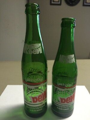 "VINTAGE ""Ya-hoo"" MOUNTAIN DEW SODA BOTTLES 8 oz and 10 oz SAME GRAPHICS"