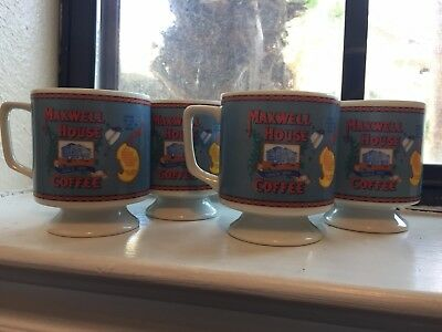 """Set of 4 Vintage Maxwell House Coffee """"Good to the last drop"""" Ceramic Mugs"""