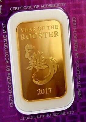 """1 oz Gold Bar - Scottsdale Mint (In Certi-Lock® Assay) -"""" YEAR OF THE ROOSTER""""!"""