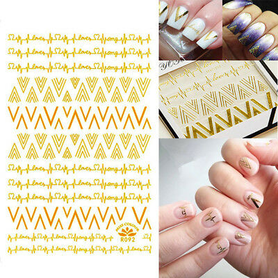 3D Metallic Gold v forma latido Nail Art Tips Decoracion DIY pegatinas Decal