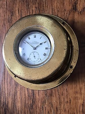 Antique Brass Pocket Watch Holder Nautical Maritime Ship Clock Shape Case Stand
