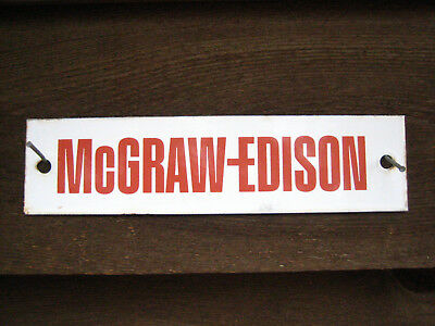 McGRAW-EDISON PORCELAIN Vintage SWITCHGEAR Nameplate Sign 10 inch NOT GE