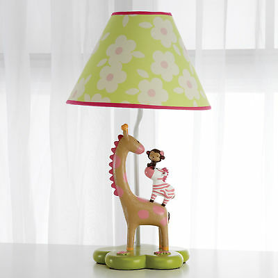 Carters Jungle Collection Lamp Nursery Giraffe Zebra Monkey Elephant Theme Pink