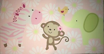 Carters Jungle Collection CANVAS Nursery Wall Hanging Zebra Monkey Elephant Bird