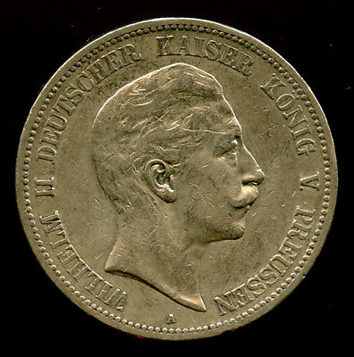 Germany-Prussia 1893-A Wilhelm Ii  5 Mark Light Toning+Luster Choice Vf-Xf