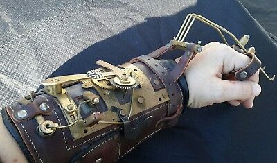 Handmade Steampunk Glove or Gauntlet Hand piece, Leather and Metal
